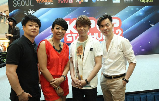 Judges for TvN Star Hunt's Singapore finals - Park Jae Hyun, Irene Ang, Tony An, and Eddy Tan