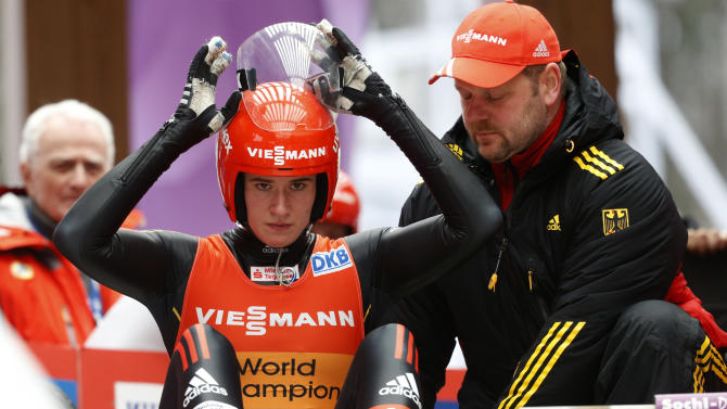 Natalie Geisenberger of Germany lines up at the start of a women's race at the Sliding Center Sanki during the Luge World Cup 2013, in Krasnaya Polyana resort, some 60 kilometers (37 miles) east of Sochi, Russia, Saturday, Feb. 23, 2013. Natalie Geisenberger of Germany, already holding an unbeatable lead in the Luge World Cup, heads the field in the series' last meet, a test event for the 2014 Sochi Olympics Sanki track.  (AP Photo/Alexander Zemlianichenko)