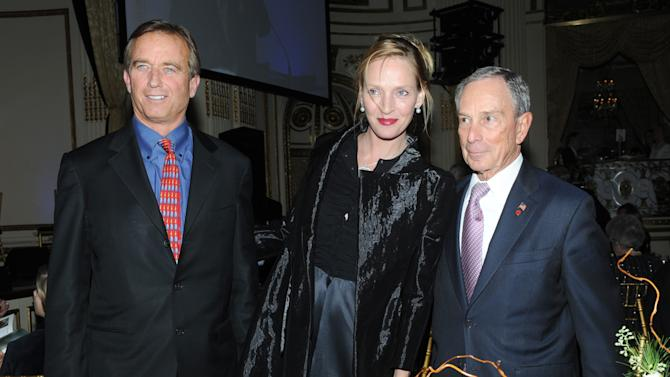 New York City Mayor Michael Bloomberg, right, Uma Thurman and Robert F. Kennedy Jr., left,  attend The National Audubon Society's first gala to jointly award the Audubon Medal and the inaugural Dan W. Lufkin Prize for Environmental Leadership, Thursday, Jan. 17, 2013, in New York.  (Photo by Diane Bondareff/Invision for The National Audubon Society/AP Images)