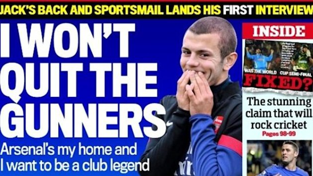 Daily Mail back page on November 10 2012