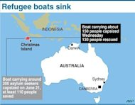 <p>Graphic showing two sites in the Indian Ocean where boats packed with asylum-seekers sank en route to Australia.</p>