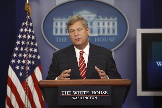 "FILE - In this July 18, 2012, file photo, Agriculture Secretary Tom Vilsack talks about the drought during a press briefing at the White House in Washington. Vilsack has some harsh words for rural America: It's ""becoming less and less relevant,"" he says. A month after an election that Democrats won even as rural parts of the country voted overwhelmingly Republican, the former Democratic governor of Iowa told farm belt leaders this past week that he's frustrated with their internecine squabbles and says they need to be more strategic in picking their political fights. ""It's time for us to have an adult conversation with folks in rural America,"" Vilsack said in a speech at a forum sponsored by the Farm Journal. ""It's time for a different thought process here, in my view."" He said rural America's biggest assets — the food supply, recreational areas and energy, for example — can be overlooked by people elsewhere as the U.S. population shifts more to cities, their suburbs and exurbs. (AP Photo/Charles Dharapak, File)"