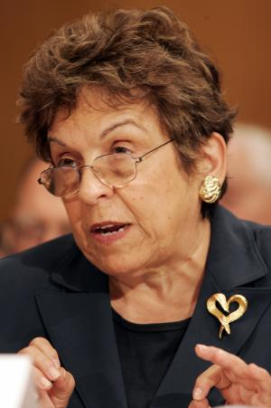 "FILE - In this Oct. 17, 2007 file photo, former Health and Human Services Secretary Donna Shalala, a co-chair on the President's Commission on Care for America's Returning Wounded Warriors, testifies on Capitol Hill in Washington, before the Senate Veterans' Affairs Committee. In her decade as University of Miami president, Shalala has strived to get a school once called ""Suntan U"" mentioned with the likes of Duke, Vanderbilt and Stanford — world-class private research universities that also win big on Division I courts and playing fields. Now, the worst-case scenario: The scandal emerging from Miami's football team could instead leave the university forever paired in the public's eye with Southern Methodist University, so far the only school with a football program declared so irredeemable the NCAA shut it down. (AP Photo/Caleb Jones, File)"