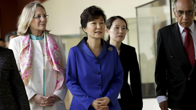 South Korea's President Park Geun-Hye visits the National Museum of Archaeology and Anthropology, accompanied by Minister of Culture Diana Alvarez Calderon in Lima