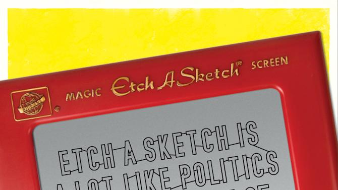 """This undated image provided by the Ohio Art Company, makers of Etch A Sketch, shows a detail of one of the ads for a new politics-themed ad campaign. The company is launching the campaign after making headlines nationwide when an aide for Mitt Romney compared his election campaign to the toy. Three ads in the campaign, tagged """"Shake it Up, America,"""" poke fun at politics in general and maintain that the toy, created in 1960, is politically neutral. (AP Photo/The Ohio Art Company)"""