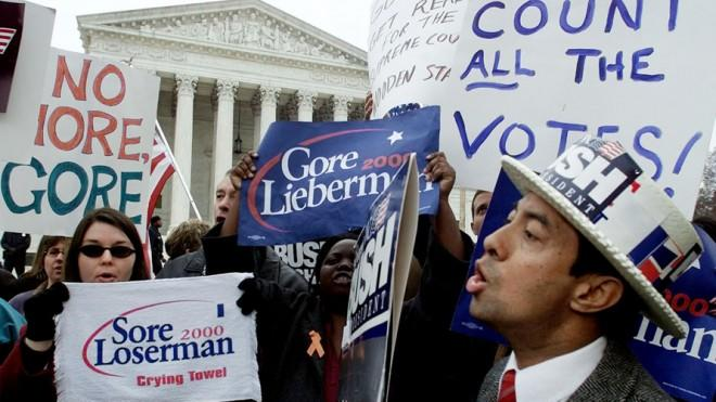 Supporters of Al Gore and George W. Bush face off against one another on Dec. 11, 2000 in front of the Supreme Court.