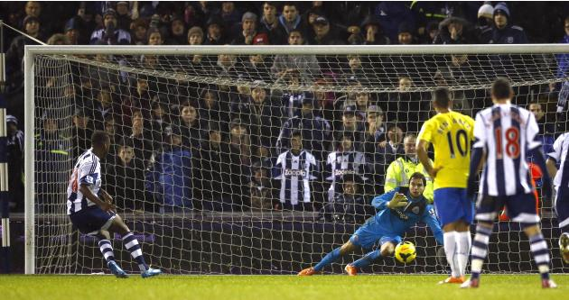 West Bromwich Albion's Berahino shoots and scores from the penalty spot during their English Premier League soccer match against Newcastle United in West Bromwich