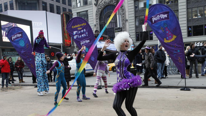 IMAGE DISTRIBUTED FOR KIMBERLY CLARK - Pull-Ups® Brand helps make potty training fun and easy with a larger than life First Flush celebration in Times Square on Jan. 29, 2013 in New York. (Amy Sussman /AP Images for Kimberly Clark)