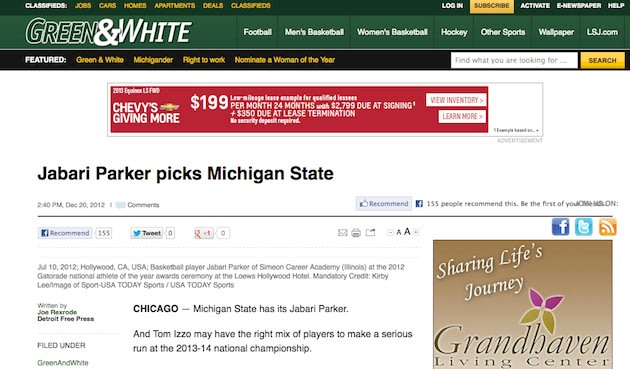 The Lansing State Journal's publication of an errant Jabari Parker announcement story &#x002014; Lansing State Journal screenshot