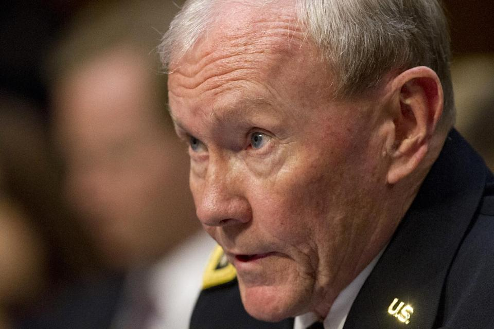 Joint Chiefs Chairman Gen. Martin E. Dempsey testifies on Capitol Hill in Washington, Tuesday, Sept. 3, 2013, before the Senate Foreign Relations Committee hearing on Syria. (AP Photo/Jacquelyn Martin)