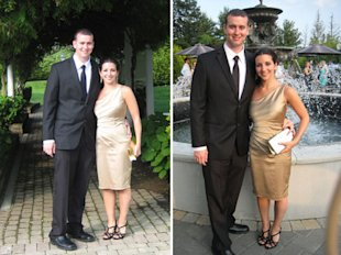 Here's what the rented dress looked like from the front, in daylight and at sunset.