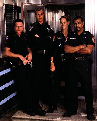 Jason Wiles as Bosco, Coby Bell as Ty Davis, Kim Raver as Kim Zambrano and Michael Beach as Doc on NBC's Third Watch Third Watch