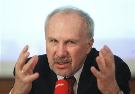 OeNB Governor Nowotny briefs the media during a news conference in Vienna