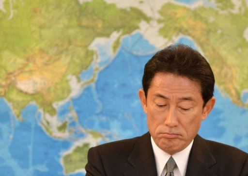 <p>Japan's new Foreign Minister Fumio Kishida listens to questions at a news conference at the foreign ministry in Tokyo on December 28, 2012. Kishida said Friday he would work to patch up ties with China, soured over a bitter territorial row that has blighted relations for months.</p>