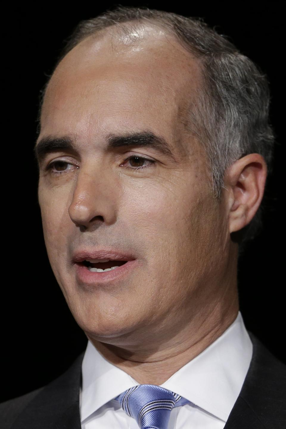 Democratic U.S. Sen. Bob Casey speaks during a debate between Pennsylvania's candidates for U.S. Senate, at the WPVI-TV studio, Friday, Oct. 26, 2012, in Philadelphia. (AP Photo/Matt Rourke)