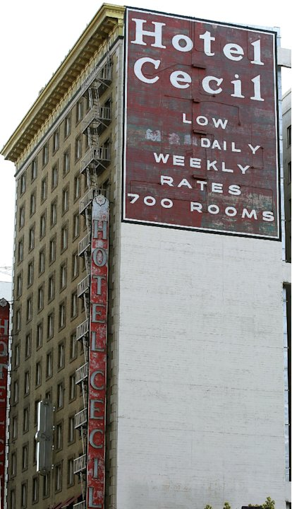 Hotel Cecil in Los Angeles is seen in a Wednesday Feb. 20,2013 photo. Police say the body of a woman found Tuesday wedged in a water tank on the roof of the Hotel Cecill is that of a missing Canadian 