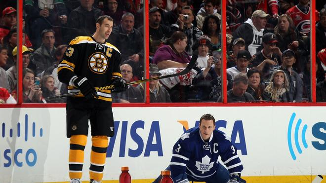 Zdeno Chara #33 Of The Boston Bruins And Team Chara Stands As Dion Phaneuf #3 Of The Toronto Maple Leafs And Team Getty Images