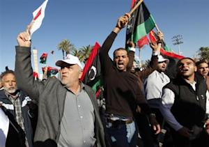 Demonstrators take part in a protest against the General National Congress at the Martyrs' Square in Tripoli