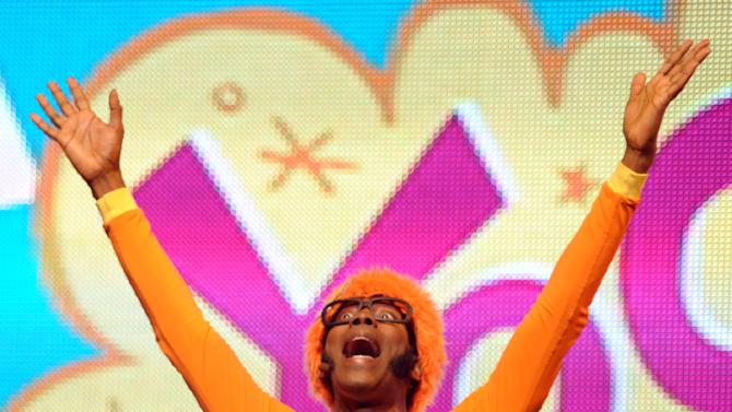DJ Lance Rock performs onstage at Yo Gabba Gabba! Live!: Get The Sillies Out! 50+ city tour kick-off performance on Thanksgiving weekend at Nokia Theatre L.A. Live on Friday Nov. 23, 2012 in Los Angeles. (Photo by John Shearer/Invision for GabbaCaDabra, LLC./AP Images)