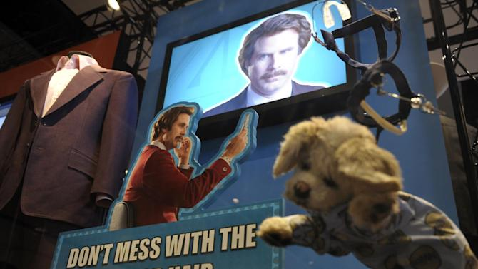 """Props and costumes from the """"Anchorman"""" movie are seen at an exhibit at the Newseum in Washington, Friday, Nov. 15, 2013. The museum about news and the First Amendment has opened """"Anchorman: The Exhibit,"""" featuring costumes and props from Will Ferrell's 2004 movie """"Anchorman: The Legend of Ron Burgundy."""" The story of a fictional news team's sexist reaction to the arrival of an ambitious female reporter was a parody of real tumult in the 1970s TV business. (AP Photo/Susan Walsh)"""