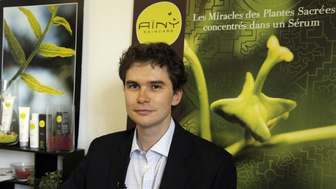 Daniel Joutard, director and founder of Ainy poses during an interview with the Associated Press in Paris, Thursday, Sept, 13, 2012.  Joutard wants to hire more employees for his growing, innovative skin-care products company, but can't take the risk in large part because of France's inflexible workplace protections. The 37-year-old is among thousands of small- and medium-size business owners who will be crucial to help France _ like other countries in Europe _ reduce a double-digit jobless rate, and ultimately shrink its hefty state budget deficit by bringing in more tax revenues. (AP Photo/Francois Mori)