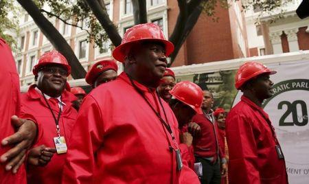 Economic Freedom Party leader Julius Malema arrives to be sworn in as a member of parliament at the South African Parliament in Cape Town