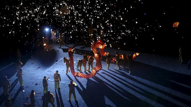 A fire dragon dance is performed during Chinese Lunar New Year celebrations in Neijiang