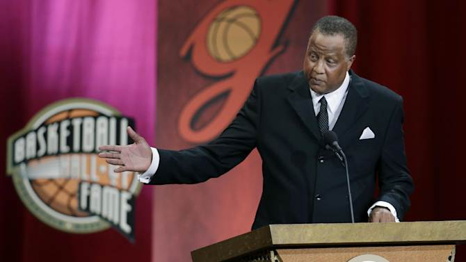 Inductee Jamaal Wilkes speaks during the enshrinement ceremony for the 2012 class of the Naismith Memorial Basketball Hall of Fame at Symphony Hall in Springfield, Mass. Friday, Sept. 7, 2012. (AP Photo/Elise Amendola)