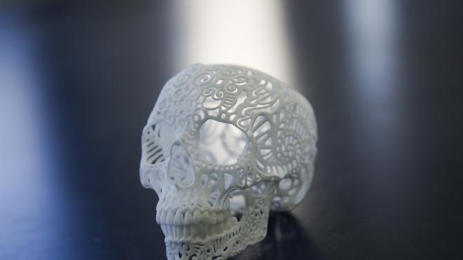 Example made by the Shapeways 3D printing company is seen at their office in the borough of Queens in New York