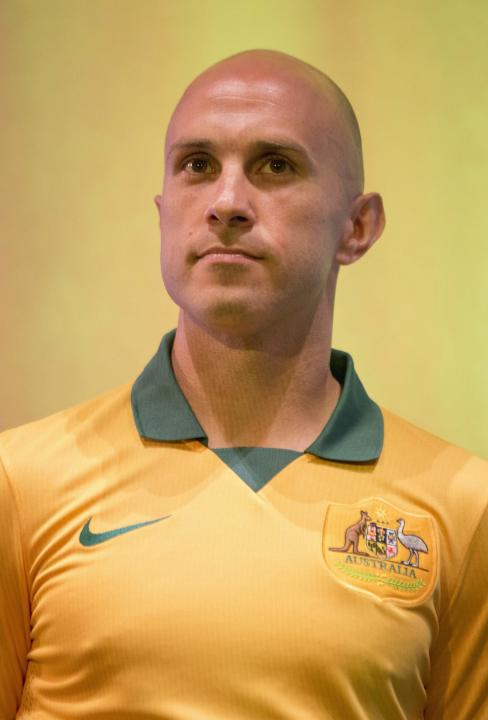 The Australian National Team Kit to be worn by the Socceroos at the 2014 FIFA World Cup is unveiled by player Bresciano in Sydney