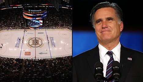 Boston Bruins arena TD Garden, and U.S. presidential candidate Mitt Romney