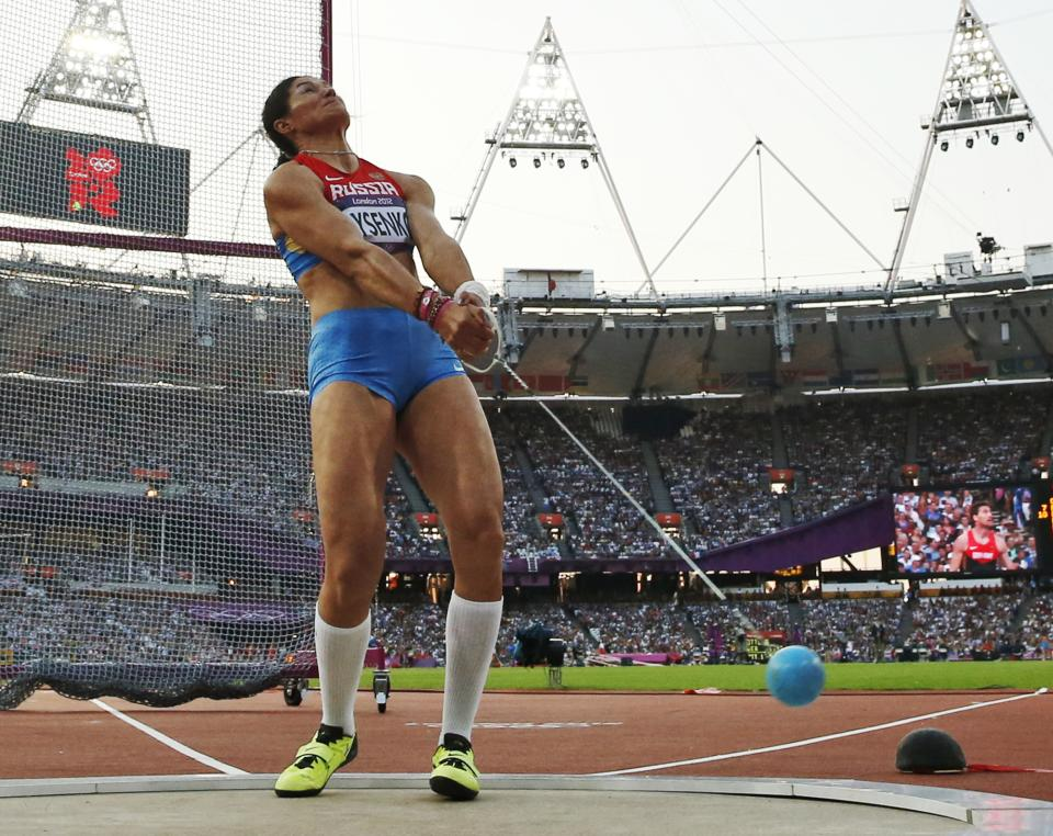 Russia's Tatyana Lysenko competes in the women's hammer throw final during the athletics in the Olympic Stadium at the 2012 Summer Olympics, London, Friday, Aug. 10, 2012. (AP Photo/Matt Dunham)