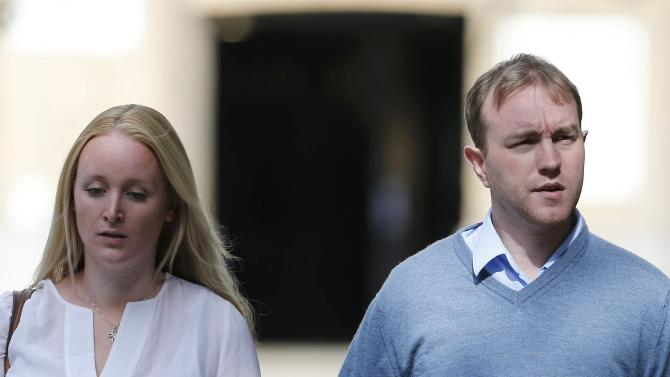 Former trader Hayes and his wife Sarah arrive at Southwark Crown Court in London