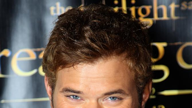 "Actor Kellan Lutz arrives at Summit Entertainment's ""The Twilight Saga: Breaking Dawn - Part 2"" VIP Comic-Con celebration, Wednesday, July 11, 2012, in San Diego. (Photo by Matt Sayles/Invision/AP)"