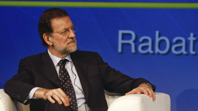 Spain's Prime Minister Mariano Rajoy, during the Inauguration of the CEOE (Confederation of Spanish companies) Business Forum - CGEM (Confederation General of Moroccan Enterprises) , in Rabat, Morocco, Wednesday, Oct. 3, 2012.  Rajoy arrived in Rabat on Wednesday for the 10th high-level meeting with his Moroccan counterpart, Abdelilah Benkirane. (AP Photo/Abdeljalil Bounhar)