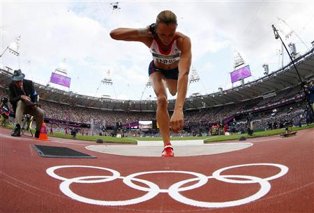Britain's Jessica Ennis competes in her women's heptathlon shot put Group A event at the London 2012 Olympic Games at the Olympic Stadium