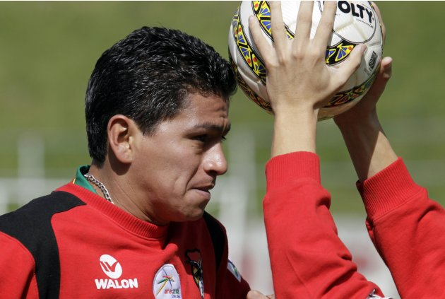 Bolivia's soccer player Carlos Saucedo attends a training session in La Paz