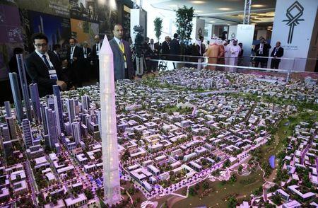 A model of a planned new capital for Egypt is displayed at the Egypt Economic Development Conference in Sharm el-Sheikh
