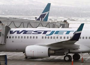 WestJet Airlines planes sit on the tarmac at Calgary Airport on Feb. 16, 2010. WestJet Airlines Ltd. (TSX:WJA) had a record November load factor and showed a significant increase in passenger traffic over the same month last year. THE CANADIAN PRESS/Larry MacDougal