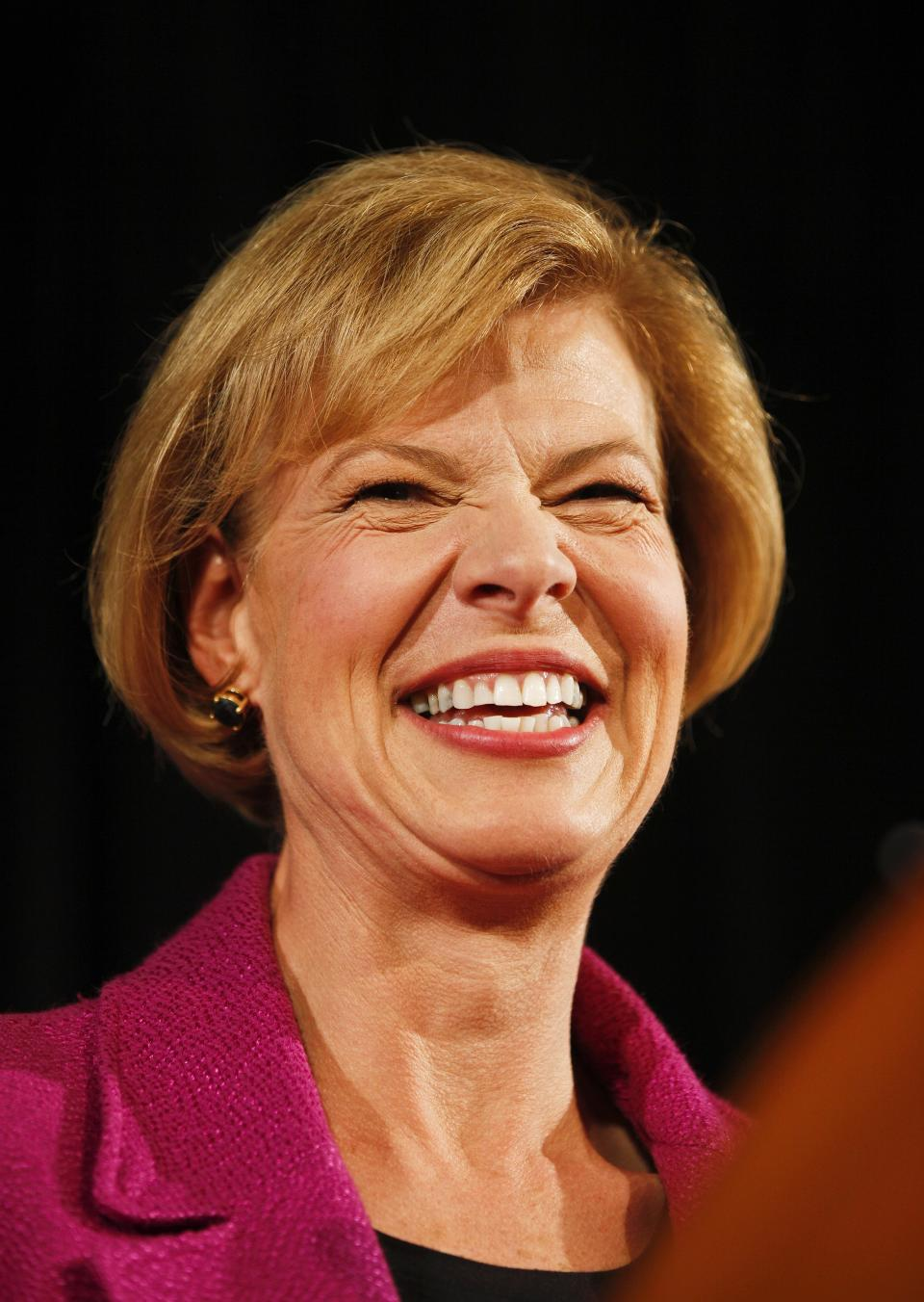 U.S. Rep. Tammy Baldwin, D-Wis, acknowledges supporters during her victory speech Tuesday, Nov. 6, 2012, in Madison, Wis. Baldwin beat former Wisconsin Gov. Tommy Thompson in the race for Wisconsin's U.S. Senate seat. (AP Photo/Andy Manis)