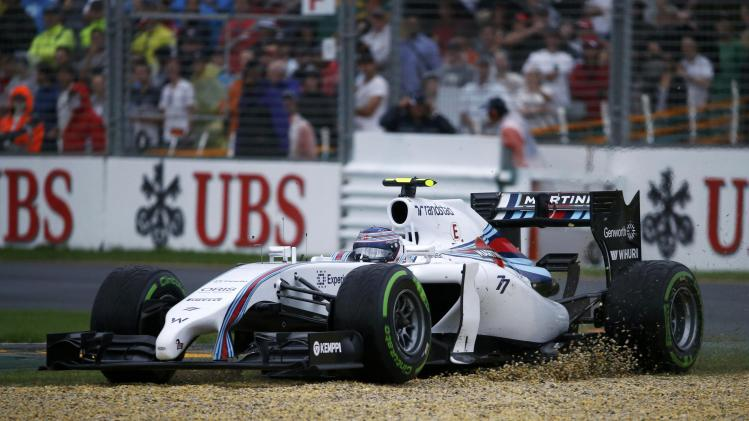 Williams Formula One driver Bottas of Finland drives to gravel during the qualifying session for the Australian F1 Grand Prix in Melbourne