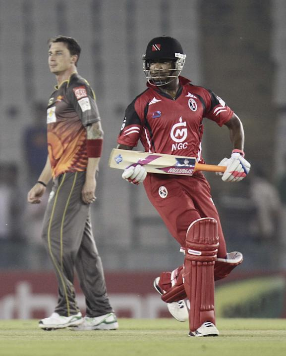 T&T batsman Darren Bravo in action during the CLT20 match between Trinidad & Tobago and Sunrisers Hyderabad at Mohali, Chandigarh on Sept. 24, 2013. (Photo: IANS)