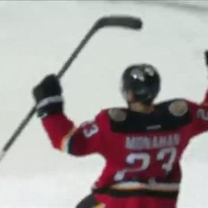 Sean Monahan scores on Jimmy Howard