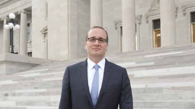 This June 11, 2012 photo shows Chad Griffin, president of the Human Rights Campaign, on the steps of the Arkansas state capitol in Little Rock, Ark. The Human Rights Campaign says Griffin is the first Southerner to head the Washington-based group. (AP Photo/Danny Johnston)