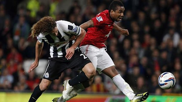 Manchester United goalscorer Anderson in action against Newcastle