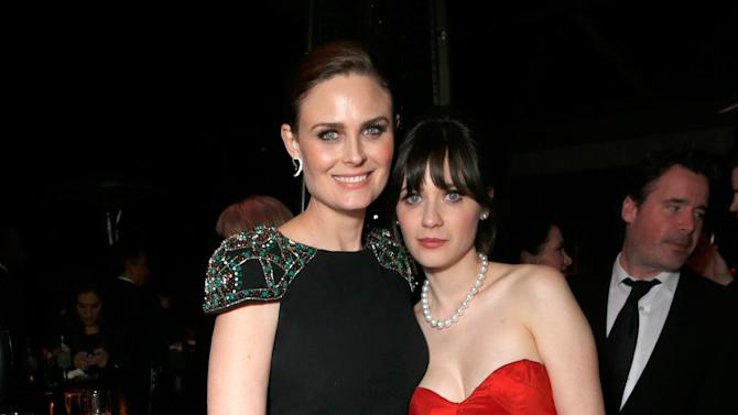 Actresses Emily Deschanel, left, and Zooey Deschanel attend the Fox Golden Globes Party on Sunday, January 13, 2013, in Beverly Hills, Calif. (Photo by Todd Williamson/Invision for Fox Searchlight/AP Images)