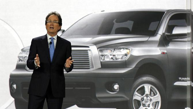 Bill Fey, Group Vice President and General Manager, Toyota Division Toyota Motor Sales, U.S.A., Inc., unveils the 2014 Toyota Tundra at the Chicago Auto Show Thursday, Feb. 7, 2013, in Chicago. (AP Photo/Charles Rex Arbogast)