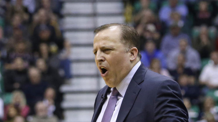 Chicago Bulls coach Tom Thibodeau shouts at a referee during the second quarter of the Bulls' NBA basketball game against the Utah Jazz on Friday, Feb. 8, 2013, in Salt Lake City. (AP Photo/Rick Bowmer)