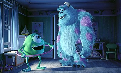 Mike Wazowski ( Billy Crystal ) and James P. Sullivan ( John Goodman ) work on assignment to scare kids around the world in Disney's Monsters, Inc.