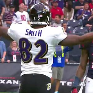 Baltimore Ravens quarterback Joe Flacco wide open Torrey Smith for an 8-yard touchdown